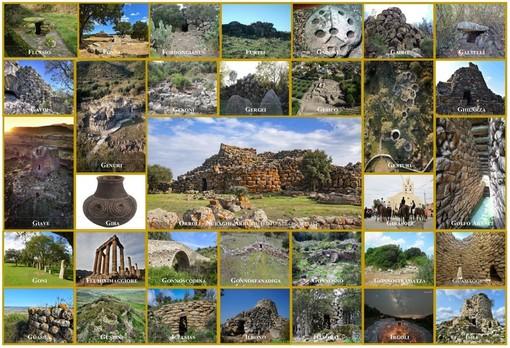"""Mosaico di nuraghi con al centro """"Nuraghe Arrubiui"""", Orroli (Sud Sardegna), foto di Sergio Melis"""