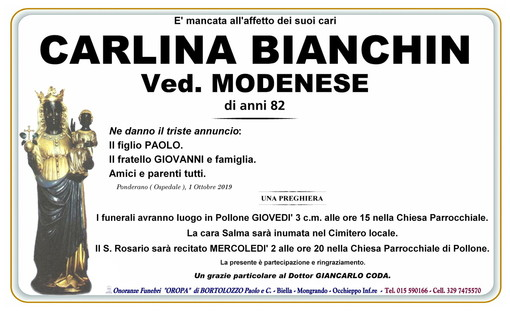 Carlina Bianchin Ved. Modenese