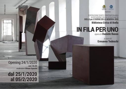 """L'opera """"In Fila per uno"""" simbolo a Biella per il Giorno della Memoria"""
