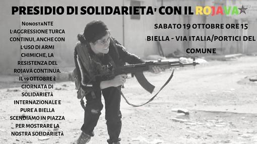 Il territorio solidale con il Rojava, la Biella Antifascista in via Italia