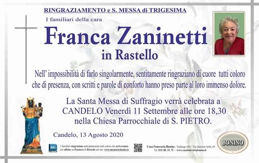 Franca Zaninetti in Rastello - Ringraziamento e S.Messa di Trigesima
