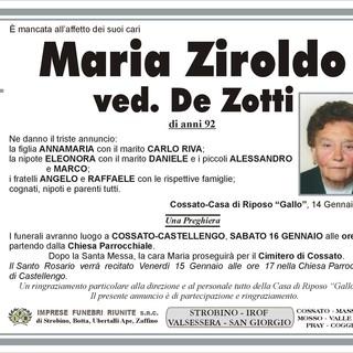 Maria Ziroldo Ved. De Zotto