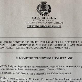 Il comune di Biella indice il bando di concorso per tre posti di istruttore amministrativo contabile