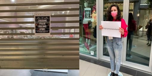 """""""Chiudiamo per poter riaprire"""", anche a Biella la protesta silenziosa dei centri commerciali FOTO e VIDEO"""