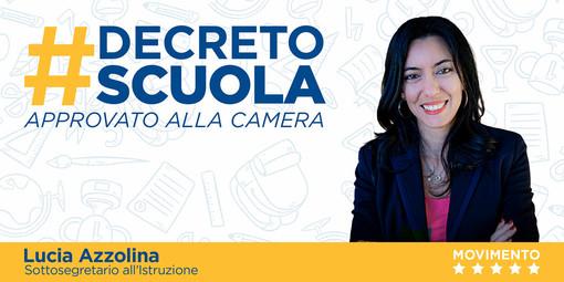"""Lucia Azzolina annuncia: """"La Camera ha approvato il decreto scuola"""""""