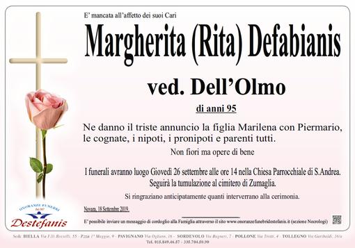 Margherita (Rita) Defabianis Ved. Dell'Olmo