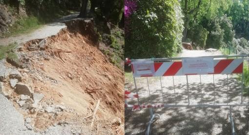 """Cede per una trentina di metri la passeggiata dei Rododendri in Burcina, il sindaco: """"Danno ancora da quantificare ma notevole"""" FOTO"""