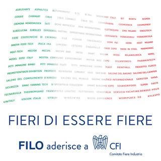 La bandiera italiana ricreata con i nomi di tutte le fiere settoriali nazionali