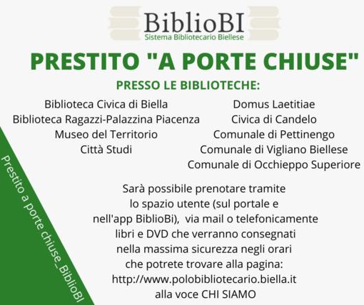 """Da lunedì 30 novembre parte il """"Prestito a porte chiuse_BiblioBi"""""""