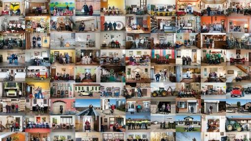 Un collage del fotografo Livio Bourbon sul lavoro fatto a Olcenengo