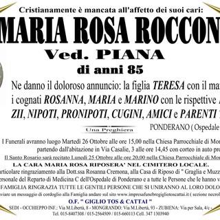 Marisa Rosa Roccon, ved, Piana