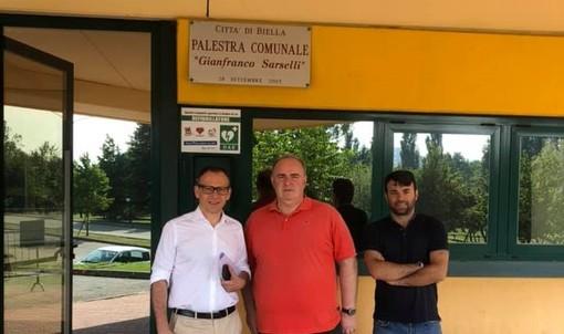 Da sinistra l'assessore Davide Zappalà, il dirigente Virtus Biella Paolo Bellinazzo e il vice sindaco Giacomo Moscarola.