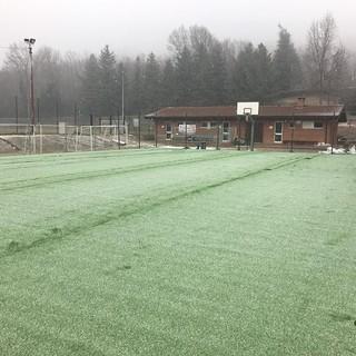 Un'immagine del campo sportivo quest'inverno