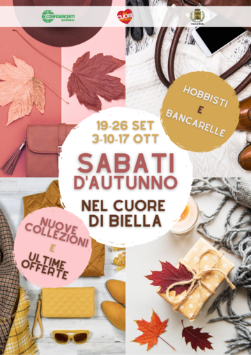 Sabati d'autunno nel cuore di Biella dal 19 settembre 2020