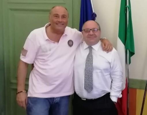 Il nuovo presidente di Pallacanestro Biella Antonio Trada incontra il sindaco Claudio Corradino