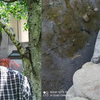 Il gestore del parco Vito Bettin e il muro di pietra in parte divelto
